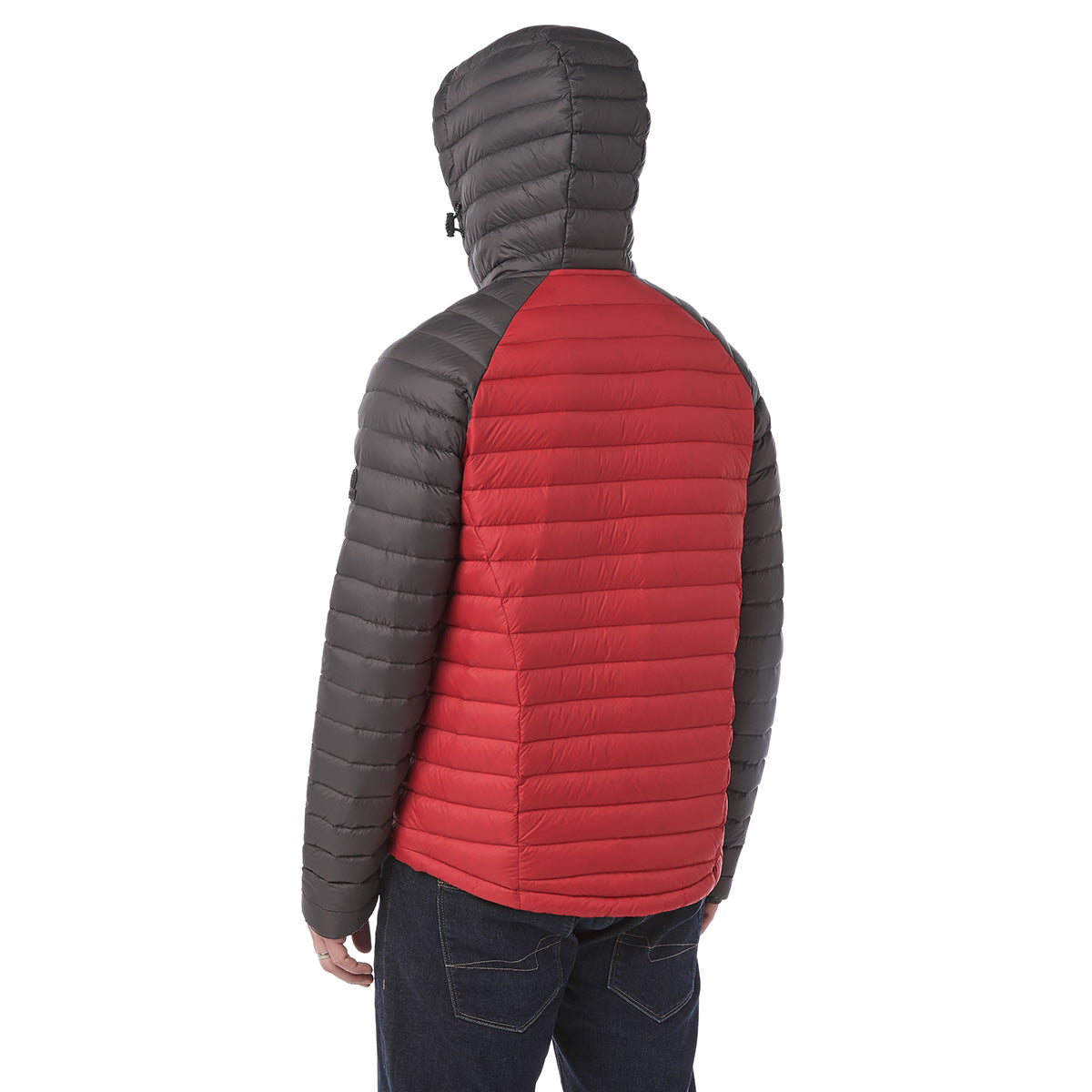 Beck Mens Hooded Down Jacket - Red/Charcoal image 4