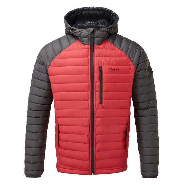 Beck Mens Hooded Down Jacket - Red/Charcoal image 1
