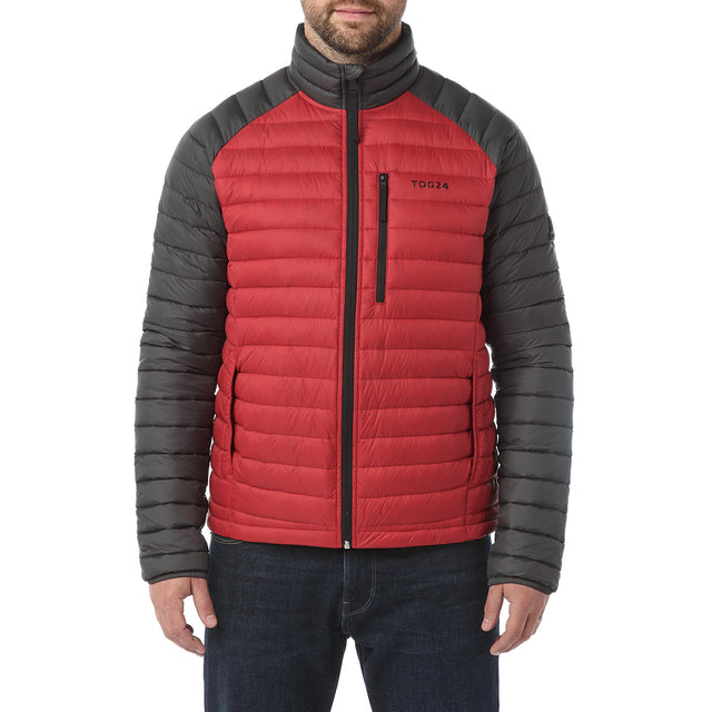 Beck Mens Down Jacket - Red/Charcoal image 2