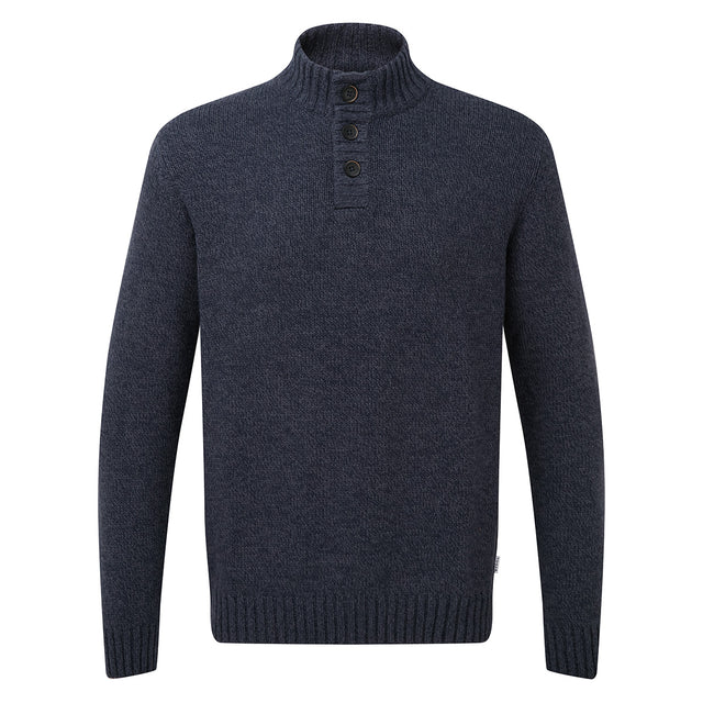 Bert Mens Button Funnel Neck Jumper - Navy Marl image 3