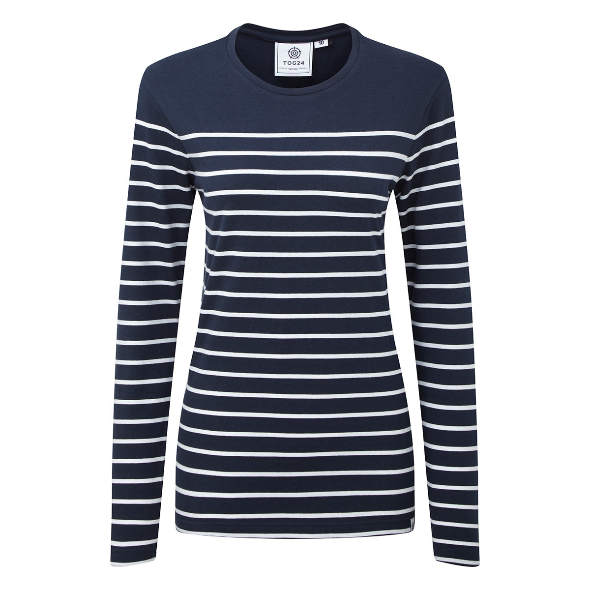 Betsy Womens Long Sleeve Stripe T-Shirt - Dark Indigo/White image 4