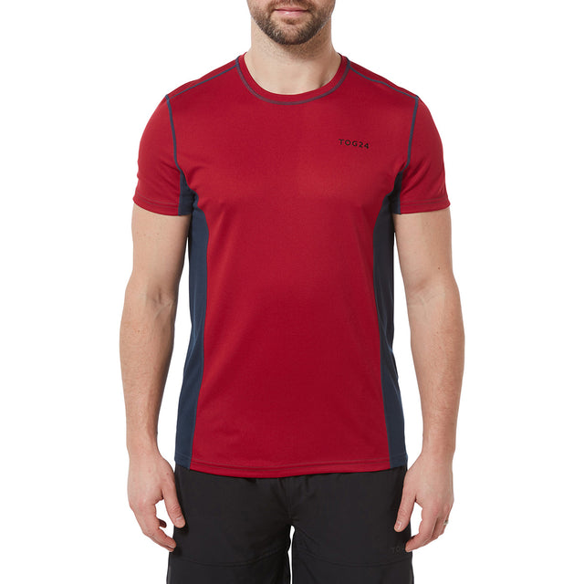 Blevin Mens Performance T-Shirt - Chilli/Naval Blue image 2