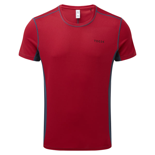 Blevin Mens Performance T-Shirt - Chilli/Naval Blue image 1
