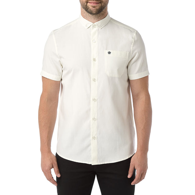 Botham Mens Short Sleeve Slim Fit Oxford Shirt - Off White image 2