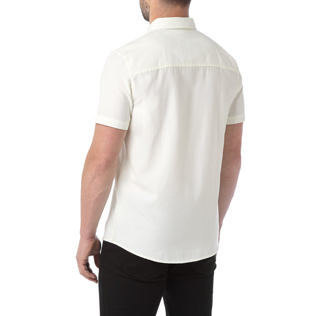 Botham Mens Short Sleeve Slim Fit Oxford Shirt - Off White image 3