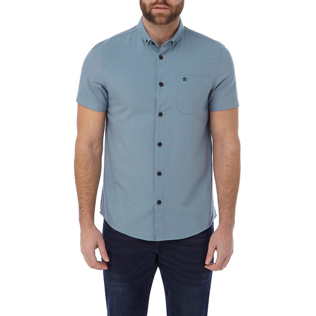 Botham Mens Short Sleeve Slim Fit Oxford Shirt - Slate image 2