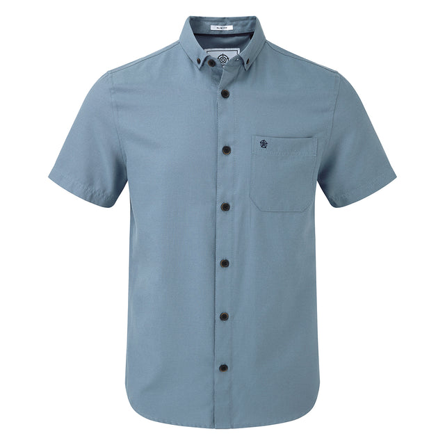 Botham Mens Short Sleeve Slim Fit Oxford Shirt - Slate image 1