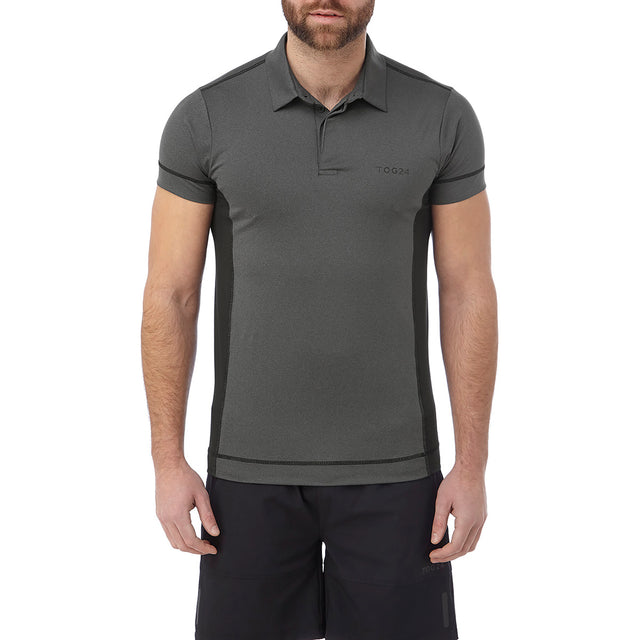 Brawl Mens Performance Polo Shirt - Grey Marl image 2