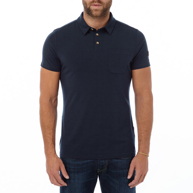 Buxton Mens Dri Release Wool Polo - Navy image 2