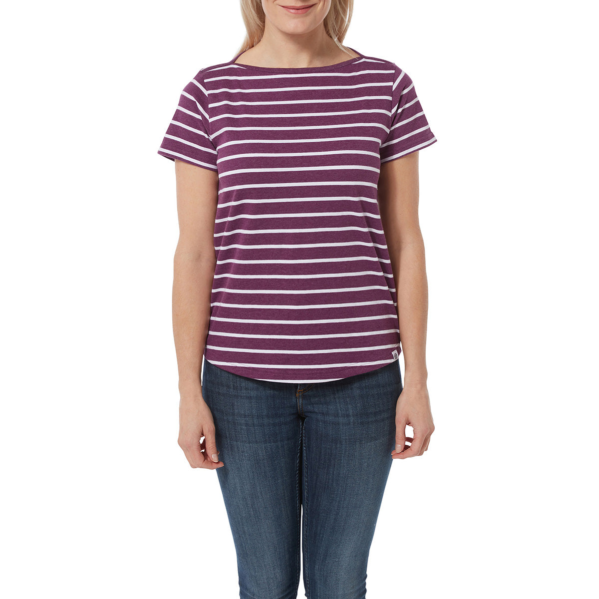 Carson Womens T-Shirt - Mulberry Marl Stripe