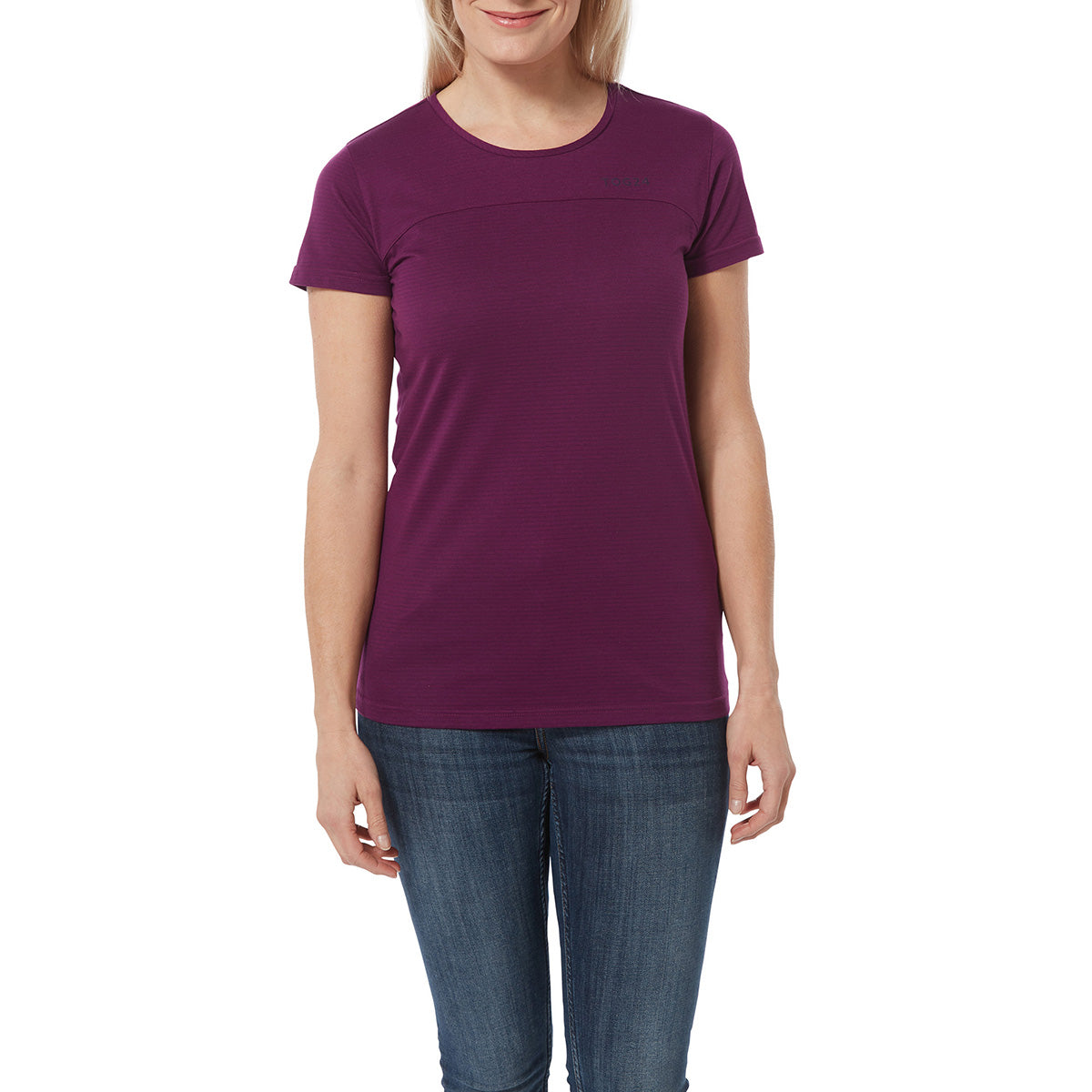 Caverly Womens Performance Stripe T-Shirt - Mulberry
