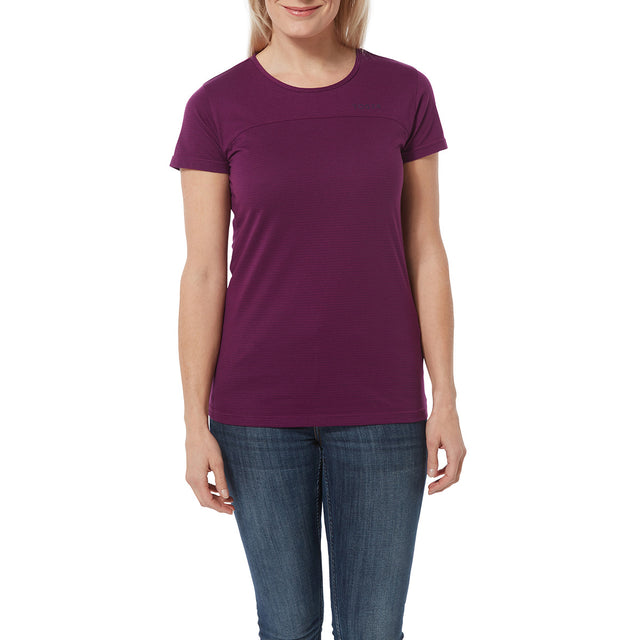 Caverly Womens Performance Stripe T-Shirt - Mulberry image 2