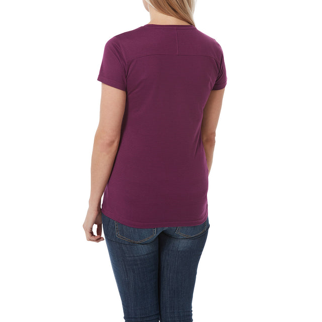 Caverly Womens Performance Stripe T-Shirt - Mulberry image 3