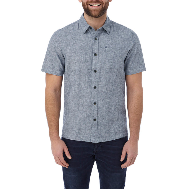 Clifton Mens Short Sleeve Linen Shirt - Navy image 2
