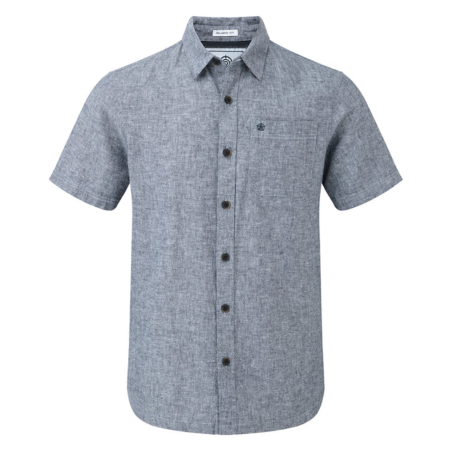 Clifton Mens Short Sleeve Linen Shirt - Navy image 1