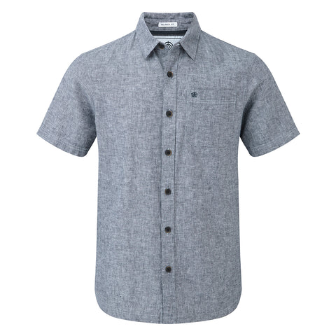 Clifton Mens Short Sleeve Linen Shirt - Navy