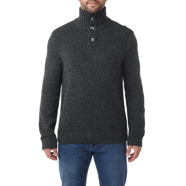 Crambe Mens Button Neck Jumper - Black/Grey image 2