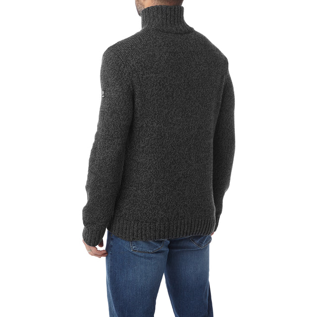 Crambe Mens Button Neck Jumper - Black/Grey image 3