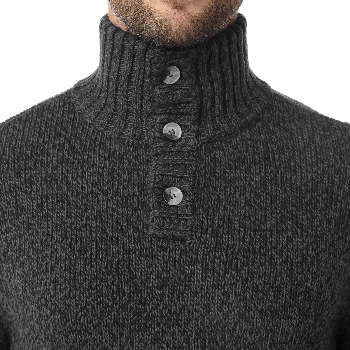 Crambe Mens Button Neck Jumper - Black/Grey image 4