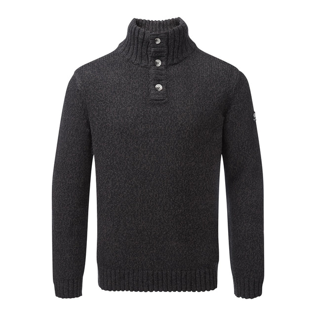 Crambe Mens Button Neck Jumper - Black/Grey image 1