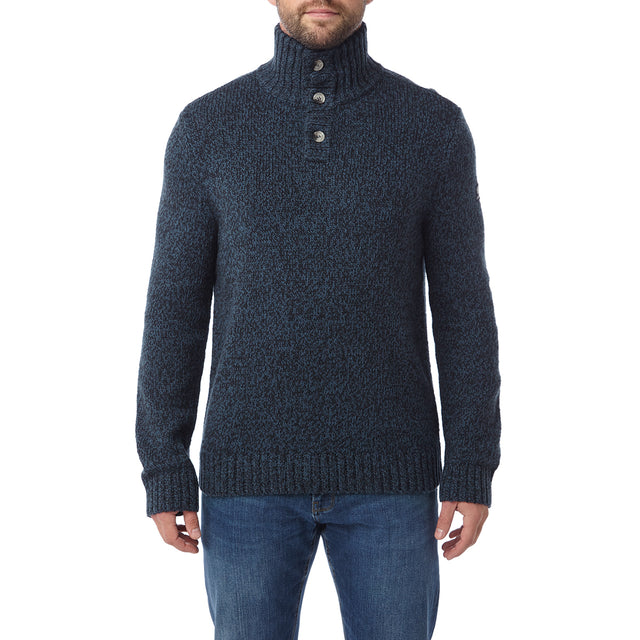 Crambe Mens Button Neck Jumper - Navy/French Navy image 2