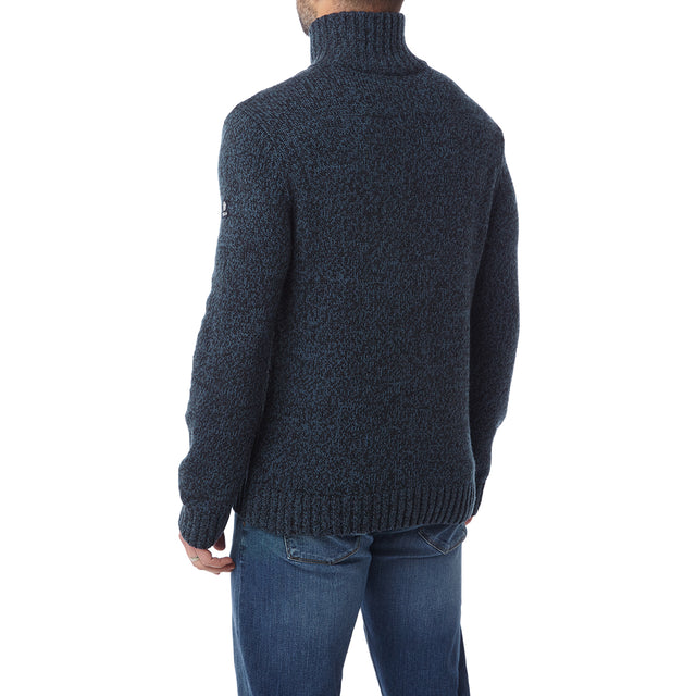 Crambe Mens Button Neck Jumper - Navy/French Navy image 3