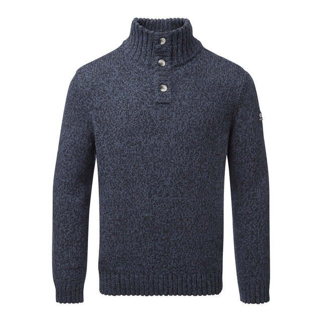 Crambe Mens Button Neck Jumper - Navy/French Navy image 1