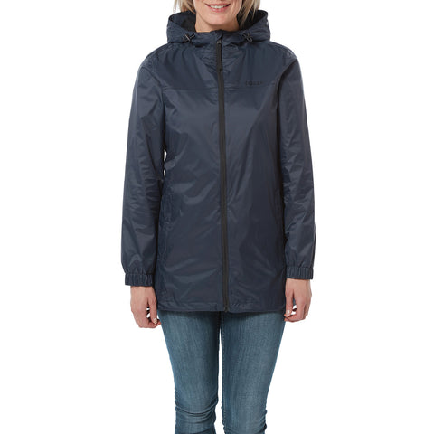 Craven Womens Long Waterproof Packaway Jacket - Navy