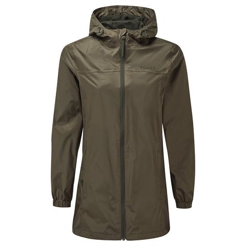 Craven Womens Long Waterproof Packaway Jacket - Dark Khaki