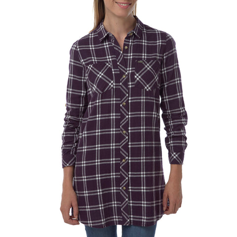 Dalton Womens Double Weave Shirt - Plum Check