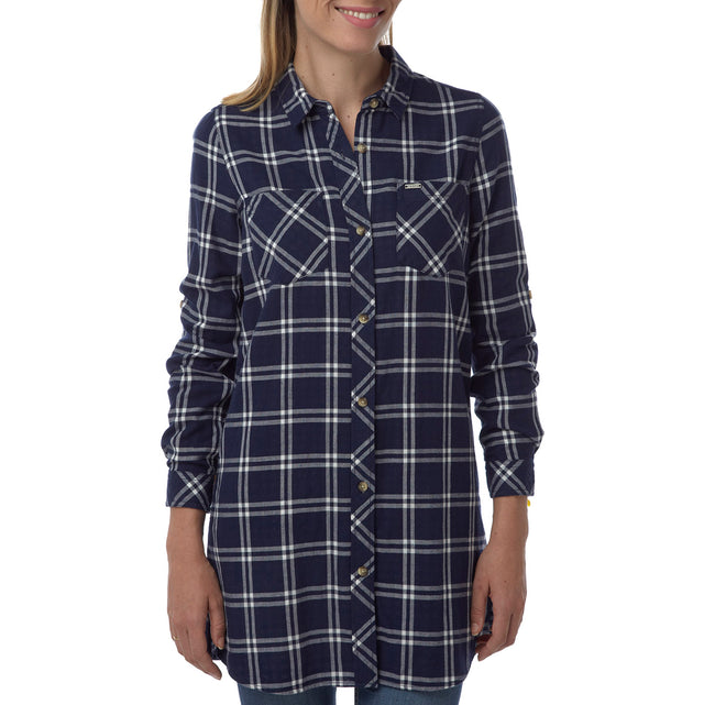 Dalton Womens Double Weave Shirt - Navy Check image 2