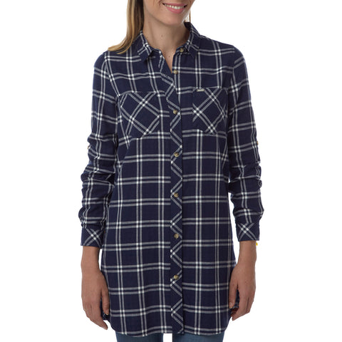Dalton Womens Double Weave Shirt - Navy Check