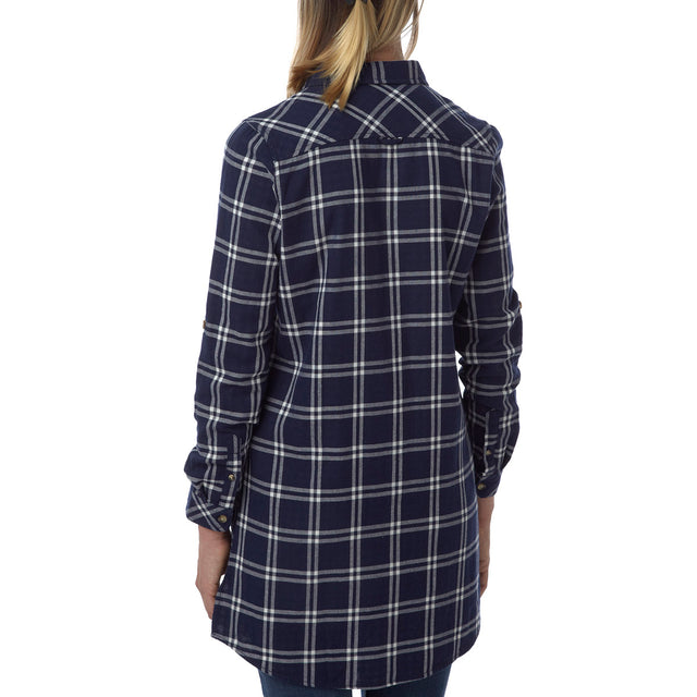 Dalton Womens Double Weave Shirt - Navy Check image 3