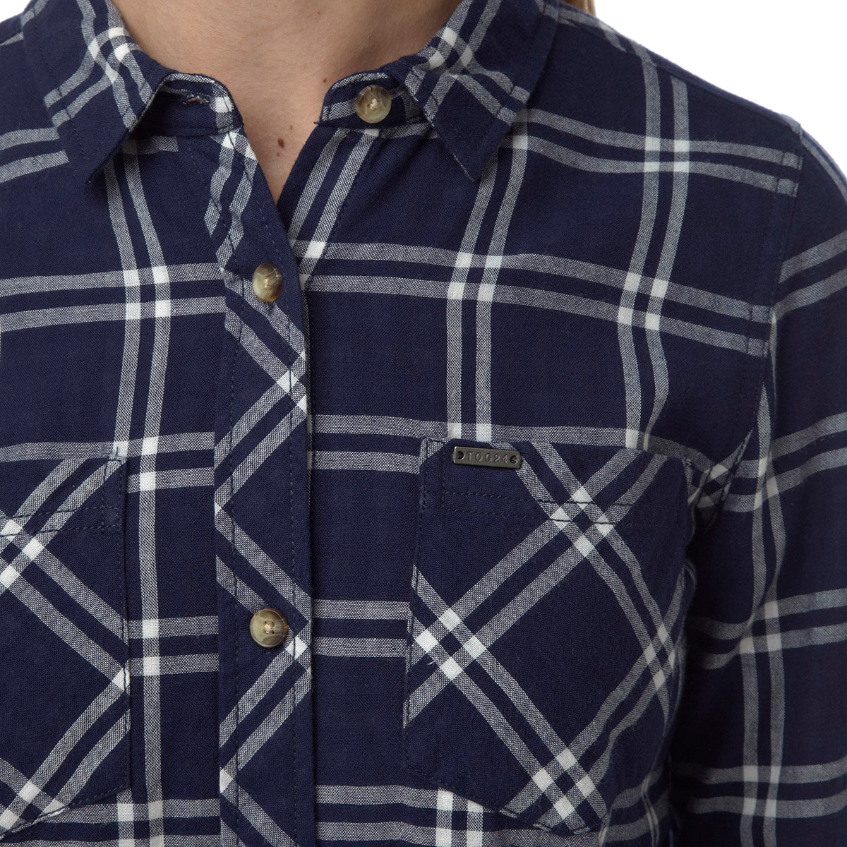 Dalton Womens Double Weave Shirt - Navy Check image 4