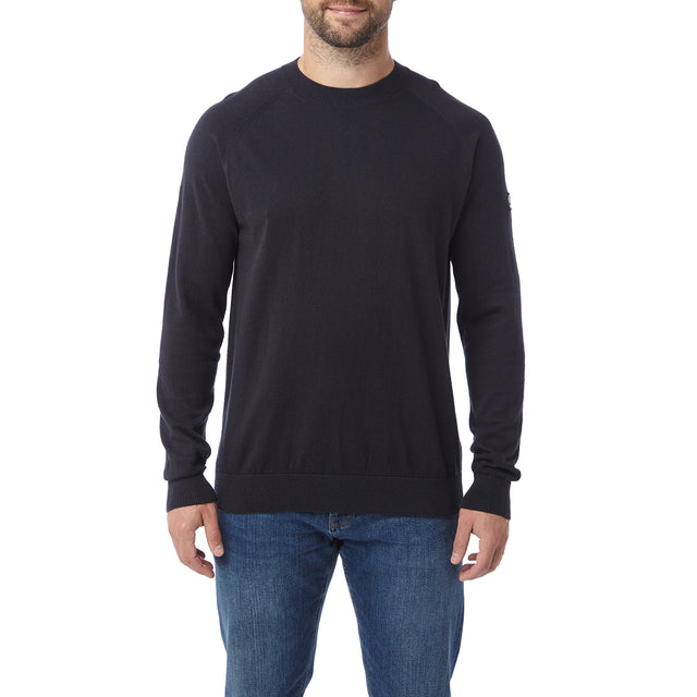 Darton Mens Cashmere Mix Crewneck Jumper - Navy image 2