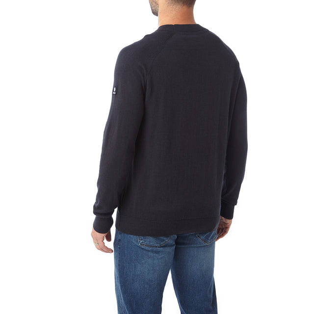 Darton Mens Cashmere Mix Crewneck Jumper - Navy image 3