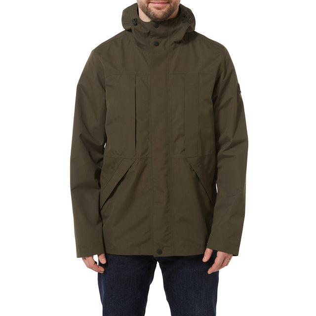 Dawson Mens Long Waterproof Jacket - Dark Khaki image 2