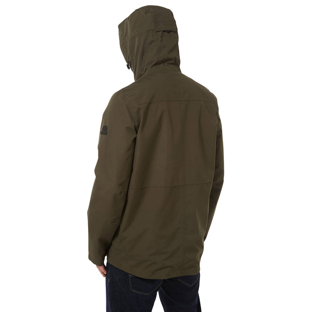 Dawson Mens Long Waterproof Jacket - Dark Khaki image 3