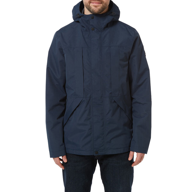 Dawson Mens Long Waterproof Jacket - Naval Blue image 2