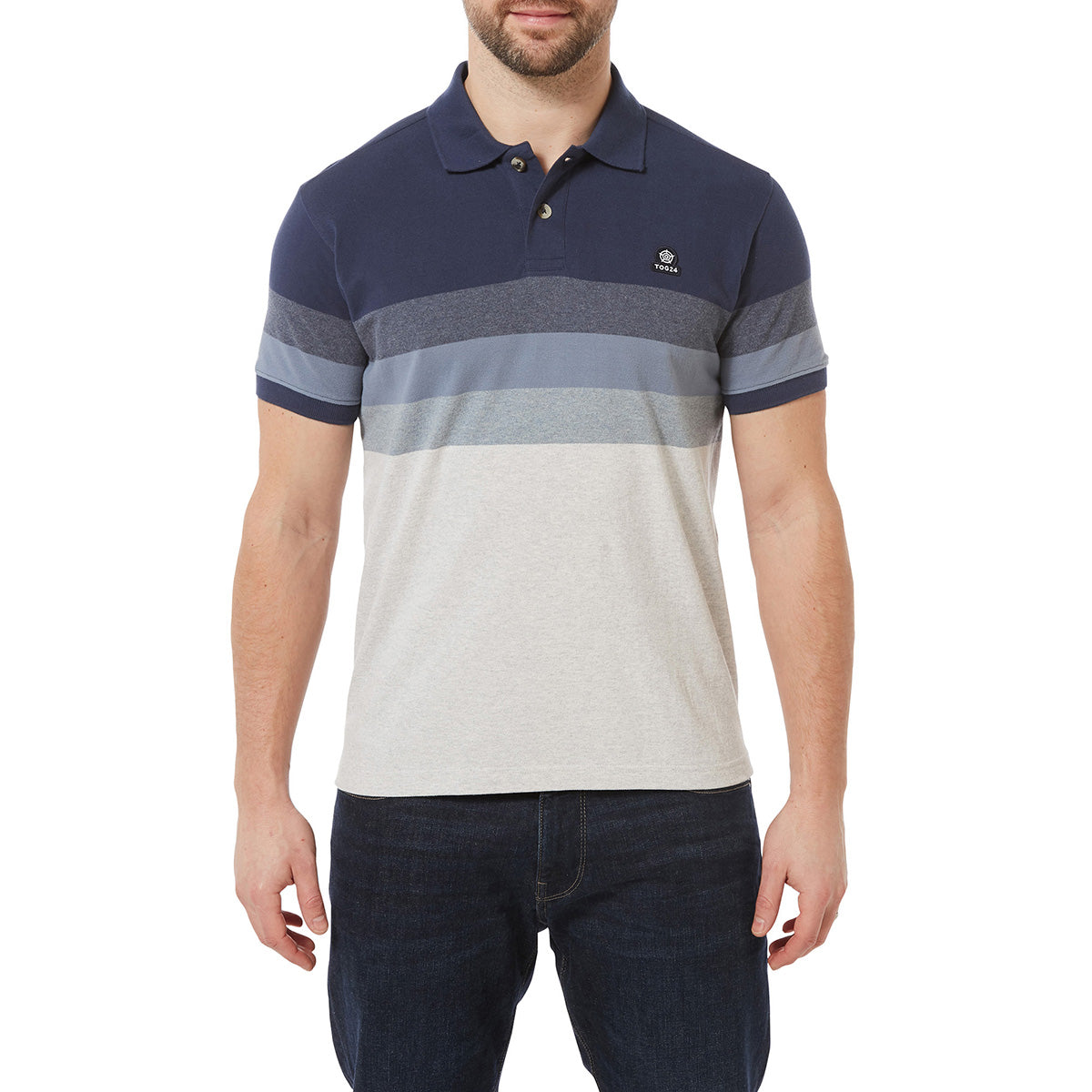 Derwent Mens Pique Stripe Polo - Slate Stripe