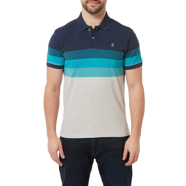Derwent Mens Pique Stripe Polo - Blue Jewel Stripe image 2