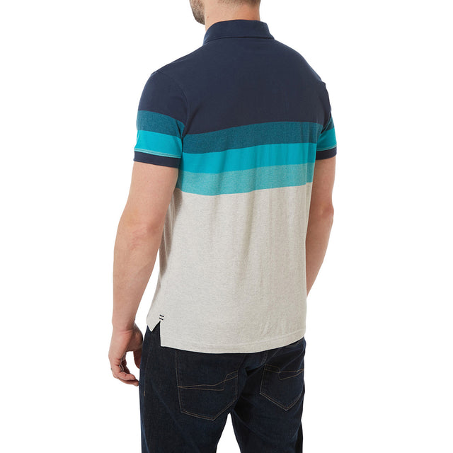 Derwent Mens Pique Stripe Polo - Blue Jewel Stripe image 3