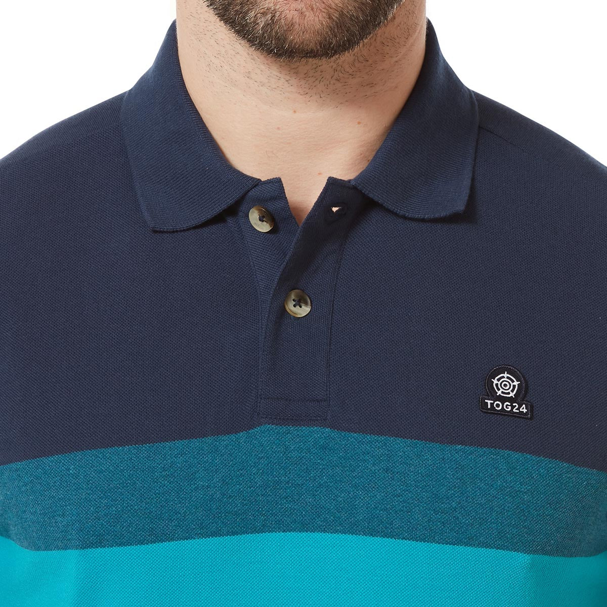 Derwent Mens Pique Stripe Polo - Blue Jewel Stripe image 4