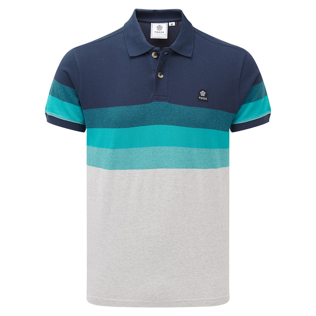 Derwent Mens Pique Stripe Polo - Blue Jewel Stripe image 1