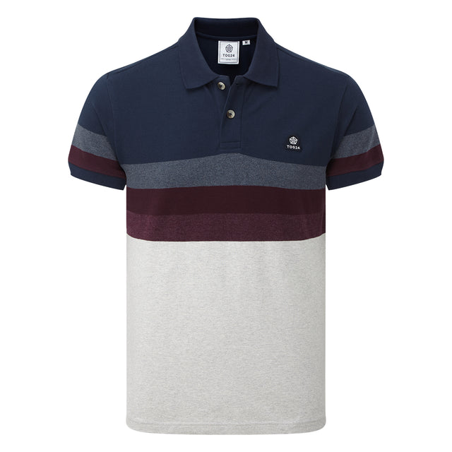Derwent Mens Pique Stripe Polo - Deep Port