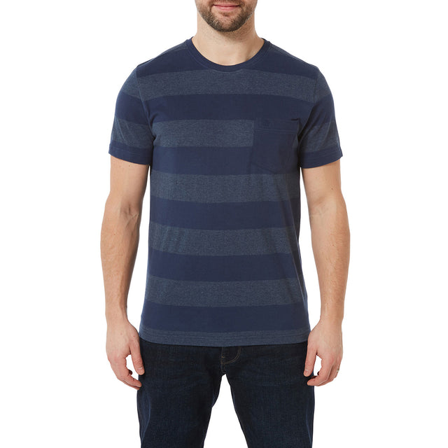 Dixon Mens T-Shirt - Naval Blue Stripe image 2