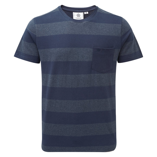 Dixon Mens T-Shirt - Naval Blue Stripe image 1
