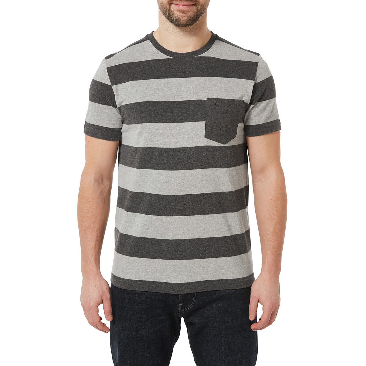 Dixon Mens T-Shirt - Dark Grey Marl Stripe