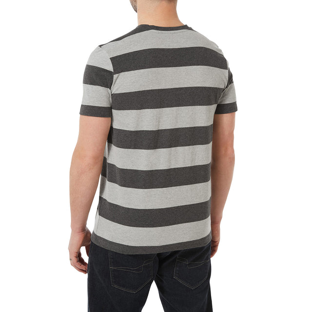 Dixon Mens T-Shirt - Dark Grey Marl Stripe image 3