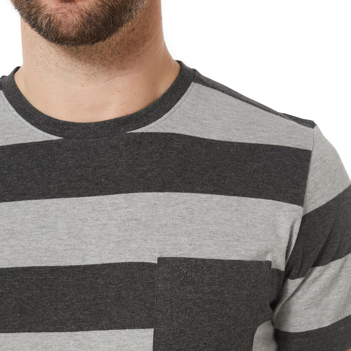 Dixon Mens T-Shirt - Dark Grey Marl Stripe image 4